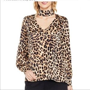 NEW Vince Camuto leopard long sleeve blouse XL